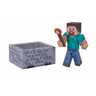 Minecraft 2016, Figurina Steve with Minecart 8 cm